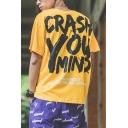 Mens Street Cool Letter CRASH Pattern Short Sleeve Round Neck Cotton Loose T-Shirt