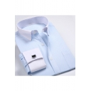 Mens Stylish Jacquard Contrast Collar Long Sleeve Fitted Button-Up French Cuff Dress Shirt