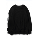 Street Fashion Letter Long Sleeve Round Neck Relaxed Pullover Sweatshirt