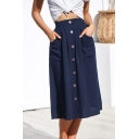 New Trendy Solid Color Elastic Waist Button-Down Casual Midi A-Line Skirt