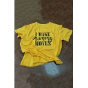 Funny Letter I MAKE MOMMY MOVES Print Short Sleeve Casual Yellow T-Shirt