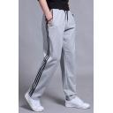 Guys Trendy Striped Side Drawstring Waist Straight-Leg Casual Loose Joggers Sweatpants