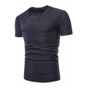 Men's Sexy Plunge V-Neck Short Sleeve Simple Plain Slim Fitted T-Shirt