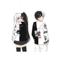 Bear Comic Printed Loose Casual Long Sleeve Zip-Up Black and White Hoodie