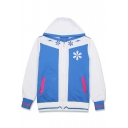 Hatsune Miku Comic Printed Colorblock Long Sleeve Zip Up Blue Hoodie