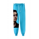 Cool 3D Figure Printed Drawstring Waist Unisex Casual Sport Cotton Sweatpants