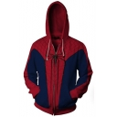 New Stylish Spider-Man Printed Casual Sport Long Sleeve Zip Up Red Hoodie