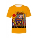Funny King Queen Poker Card Printed Basic Short Sleeve Casual Loose T-Shirt