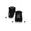 Crown Letter Stand-Collar Long Sleeve Colorblock Button Down Baseball Jacket
