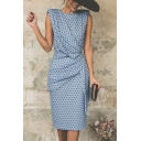 Women's Vintage Polka-Dot Print Round Neck Sleeveless Ruched Detail Midi Sheath Dress