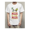 New Stylish Funny Cartoon Pattern Short Sleeve White Tee