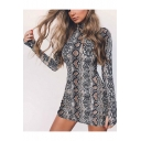 Fancy Snake Pattern High Neck Long Sleeves Mini Bodycon Dress