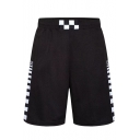 Cool Awesome Checkerboard Print Elastic-Waist Loose Sport Athletic Basketball Shorts for Guys