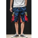 Guys Street Fashion Camo Printed Drawstring Waist Loose Fit Summer Cargo Shorts