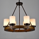 Industrial Chandelier in Cylinder Shape,Black and Wood Rustic 6 Lights