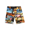 Men's Quick Drying Fashion Coconut Palm Tropical Print Drawcord Summer Surfing Swim Shorts