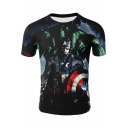 3D Film Figure Printed Short Sleeve Round Neck Summer Basic T-Shirt