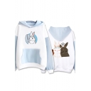 New Trendy Fashion Comic Character Printed Colorblocked Long Sleeve Blue and White Hoodie