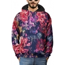 New Stylish 3D Floral Printed Long Sleeve Loose Fit Pullover Purple Hoodie