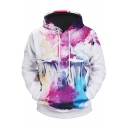 New Stylish Abstract Thinker Galaxy Print White Sport Loose Hoodie
