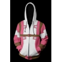 Kingdom Hearts 3D Printed Colorblocked Cosplay Costume Long Sleeve Zip Up Hoodie in Pink