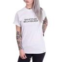 Street Style Simple Letter GIGI ATTITUDE BELLA FEELINGS White Short Sleeve T-Shirt