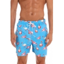 Summer New Popular Flamingo Pattern Drawstring-Waist Loose Relaxed Beach Swim Trunks
