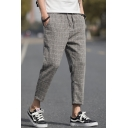 Spring Summer New Trendy Plaid Printed Drawstring Waist Casual Loose Capris Tapered Pants