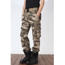 Guys Outdoor Cool Fashion Camo Printed Sport Loose Cotton Khaki Military Pants Cargo Pants