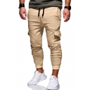 Men's Summer New Fashion Casual Plain Drawstring-Waist Fitted Cotton Cargo Pants