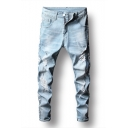 Guys Cool Letter Pocket Back Street Fashion Light Blue Ripped Relaxed Fit Jeans