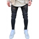 Guys Street Style Distressed Fashion Zip Side Embellished Skinny Fit Black Ripped Jeans