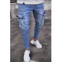 Men's New Stylish Destroyed Ripped Flap-Pocket Side Skinny Fit Cargo Jeans (Pictures for Reference)