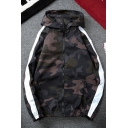 New Trendy Camouflage stripe Printed Long Sleeve Zip Closure Elastic Hem Mens Sport Jacket