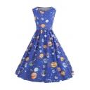 Stylish Round Neck Sleeveless Galaxy Starry Sky Planet Printed Midi A-Line Dress