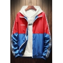 Trendy Colorblocked Zip Closure Letter Printed Elastic Hem Mens Track Jacket