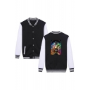Cool Figure Print Colorblock Rib Collar Long Sleeve Loose Unisex Button Closure Baseball Jacket