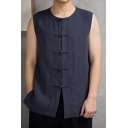 Retro Chinese Style Frog Button Round Neck Sleeveless Linen Casual Vest for Men