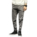 Guys Vintage Washed Gathered Elastic-Cuff Casual Loose Fit Grey Jeans