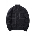 Fashionable Stand Collar Button Down Contrast Stitch Flap Pockets Long Sleeve Men's Jacket