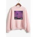 Popular 7 Rings Theme Figure Printed Fashion Mock Neck Long Sleeve Sweatshirt