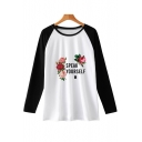 Speak Yourself Floral Letter Print Colorblock Long Sleeve Unisex T-Shirt