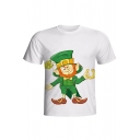 Summer Funny 3D Character Pattern Short Sleeve Round Neck White T-Shirt