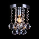 Modern Ceiling Light Clear Crystal 1 Light Nickel Chandelier for Foyer