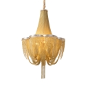 Modern Style Hanging Chandelier 6 Lights Metal Hanging Lights in Chrome/Gold