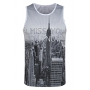 Popular Letter I MISS YOU City Round Neck Sport Grey Mesh Tank for Guys
