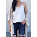 Summer Fashion V-Neck Sleeveless Solid Color Chiffon Cami Top