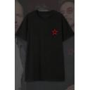 Simple Star Pattern Basic Short Sleeve Round Neck Black T-Shirt