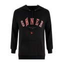 Popular Musical Duo Simple Letter GONER Printed Long Sleeve Fitted Black Hoodie