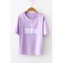 Summer Simple Letter Moon Printed Basic Short Sleeve T-Shirt